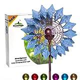 Solar Metall Windrad - azurblau mit LED-Licht - Windspiel für draußen - leichter Aufbau - wetterfest - extra antike Gartendeko - Windrad LED - standfest - ideal für Terrasse und Garten -...