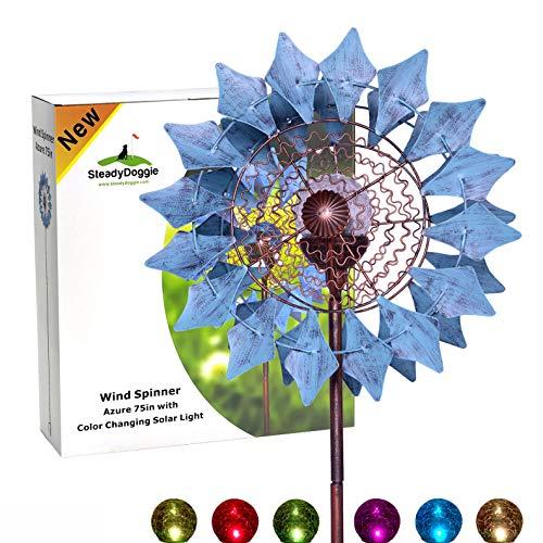 Multicolor Dots Windmill Garden Ornaments Wind Spinner Whirligig Kids Toy DSUK