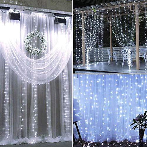 QASIN Bedroom Hanging Lights Holiday Wedding Anchor Background Star Lights Decoration Lights 18M3M 1800 LED Outdoor Christmas Family Decoration Romantic Wedding Curtain Lights 110V US White Light