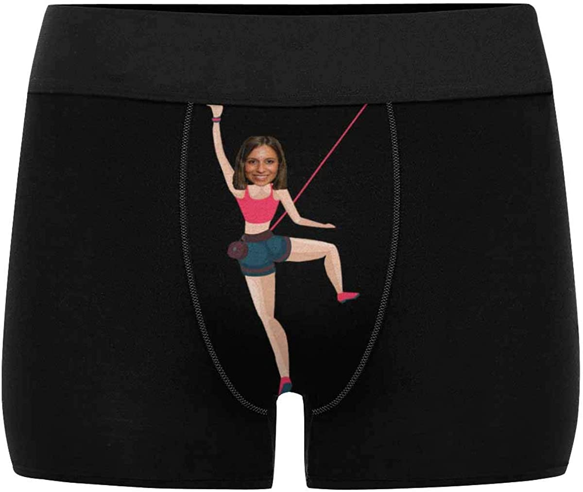 Custom Face Rock Climbing Men's Boxer Briefs Personalized Funny Wife Face Shorts Underwear