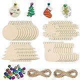 240 kits de boules de Noël non achevés - Décoration à suspendre - 80 pièces - 4 styles de tranches de bois, 80 cordes de ficelle, 80 cloches colorées pour décoration de Noël et fabrication artisanale