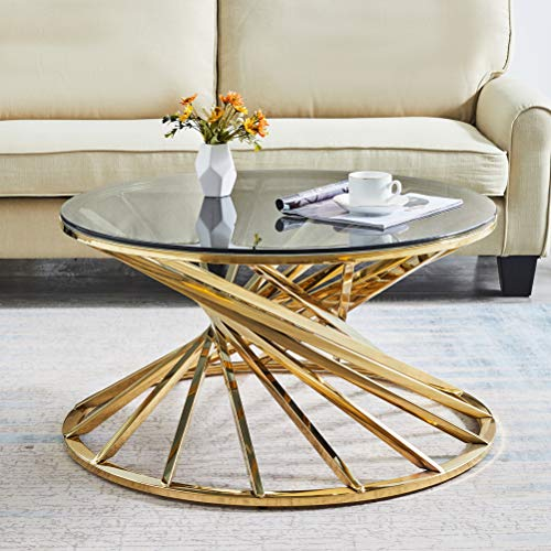 JYMTOM Round Coffee Table End Table Side Table Stainless Steel Desk Furniture Light Grey Tempered Glass Tea Table for Living Room Bedroom,80cm round gold