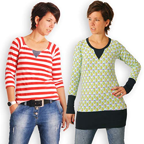 leni pepunkt Schnittmuster Raglan Shirt Damen mit Nähanleitung in den Größen XS-XXXL zum Nähen mit 5 Webetiketten