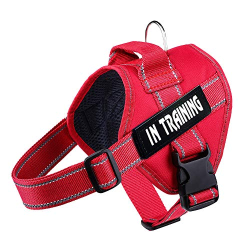 WOCUME No Pull Dog Harness Adjustable 3M Reflective Pet Vest Harness Dog Training Vest Breathable with Handle for Large Dogs Easy Control Harness(S,Red)
