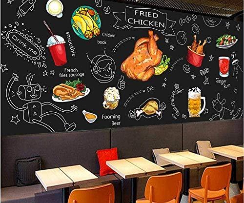 ZZXIAO Papel tapiz fotográfico Graffiti Pizarra dibujada a mano Doodle Mural Papel tapiz Mural Sala de estar mod para cocina Decoración Fotomural sala Pared Pintado Papel tapiz no tejido-430cm×300cm