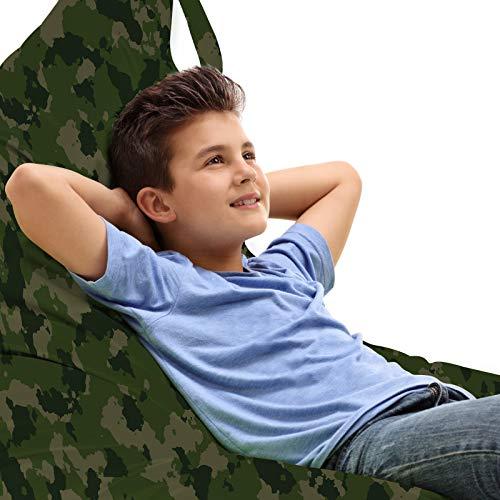 ABAKUHAUS Camouflage Zitzak, Simplistisch Woodland Camo, Veel Ruimte om Zacht Speelgoed als Knuffels in op te Bergen, met Handvat, Evergreen Dark Sepia