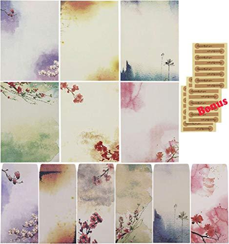 Sunswei Schreibpapier-Set, Briefpapier, 48 Blatt und 24 Umschläge Color- A
