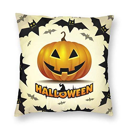 xdbgdfhdhdjdj Fundas de almohada de Halloween con diseño de murciélagos y calabazas de 45,7 x 45,7 cm, con texto en inglés 'Happy Halloween', llenas de gritos y miedo, para decoración del hogar