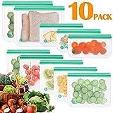 Opret Bolsas Alimentos Reutilizables, 10 Bolsas Congelar Reutilizables de 3 Tamaños Eco Envases Reutilizables para Bocadillo, Sandwich, Fruta y...
