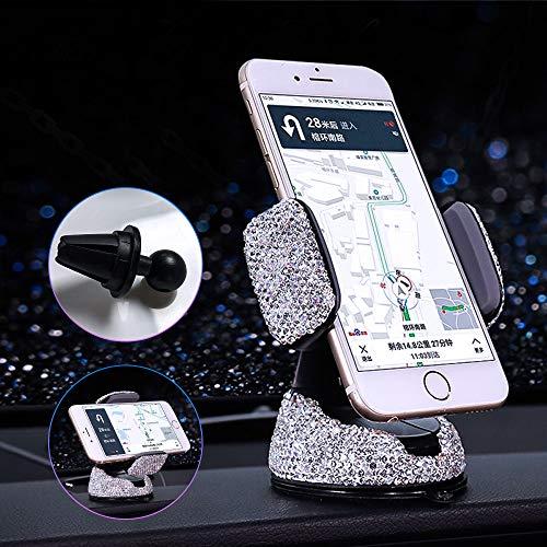 urbetter Handyhalterung Auto Handy Halterung Lüftung Autohalterung, Bling Bling Strass 2 in 1 360° Drehung Strass Handyhalterung Dashboard Telefonständerhalterung (Weißer Diamant)