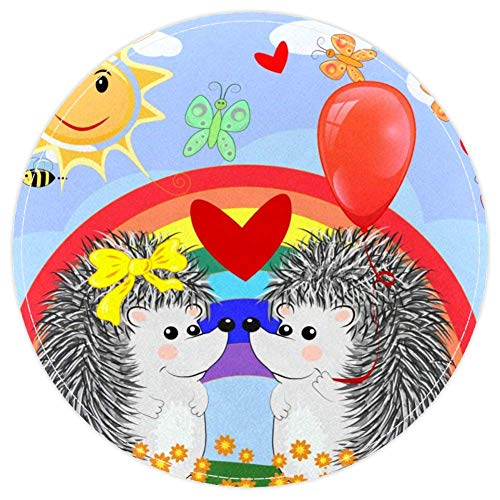 HEOEH Two Lovers - Felpudo antideslizante con diseño de erizos con arco iris, 39,9 cm, para dormitorio de niños, habitación de bebé, sala de juegos, guardería