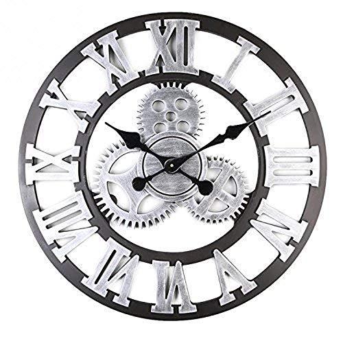 Mancru 3D Engranaje Industrial Vendimia Sin Cubierta Silencio Reloj de Pared Lamentable de Madera Grande y Redondo Sin tictac Reloj de Pared Decoración Reloj 15-40CM