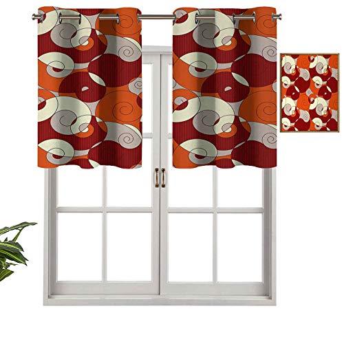 Hiiiman Cortina opaca con ojales, diseño abstracto en espiral, diseño moderno con detalles de rayas, juego de 1, 91,4 x 45,7 cm para dormitorio y sala de estar.