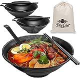 3 Sets (12 Piece) Melamine Ramen Bowl Set, 37 oz Japanese Style Soup Bowls Set with Chopsticks,...
