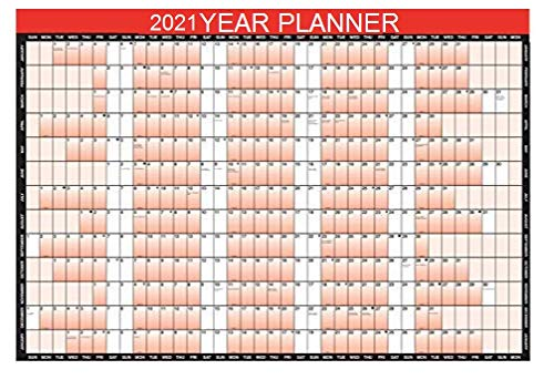 2021 Year Wall Planner A1 Large 85cm X 58cm Laminated Wall Calendar With Stickers And Dry Wipe Pen