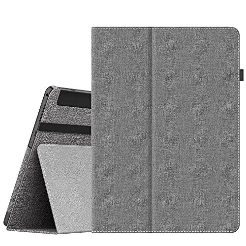 Dragon Touch タブレット K10 /Note Pad K10 保護ケース Dadanism Dragon Touch K10 カバー Dragon Touch タブレット 10.1インチ Note Pad K10 ケース PUレザー製 全面保護型 オートスリープ機能付き スタンドケース ハンドルストラップ/ペンホルダー付き 薄型 スマートケース グレー