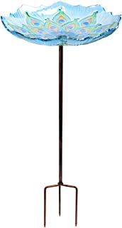 MUMTOP 26 Inch Height Glass Bird Bath,Garden Outdoor Birdbaths Birdfeeder with Metal Stake Peacock