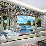 3D Personnalisé Ciel Bleu Nuages Blancs Piscine Papier Peint Rouleau Pour Salon Canapé Tv Fond Papier Peint Mural 400(L) X280(H) Cm