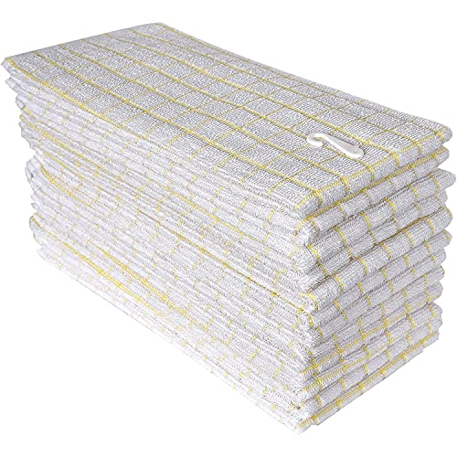 100% Cotton Kitchen Towels, Pack of 12 Pieces, Size 16 x 26 Inches, Super Soft and Absorbent Dish Towels, Tea Towels and Bar Towels-Yellow & White
