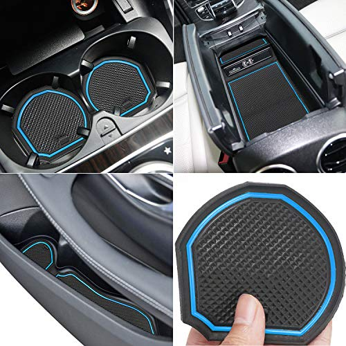Auovo Anti Dust Mats for Mercedes-Benz C-Class C300 Sedan Coupe 2015-2020 Custom Fit Door Compartment Liners Cup Holder Console Liners Interior Accessories(8pcs/Set) (Blue)
