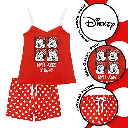 Disney Pijama Mujer Verano, Pijama Corto Algodón con Mickey, Minnie Mouse o Daisy Duck, Conjuntos Mujer Verano con Camiseta De Tirantes Y Pantalón Corto S-XL (Lunares Rojo, M)