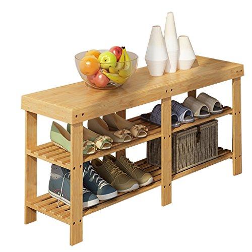 Dongy Rack de zapatos de bambú Sencillo, de múltiples capas, a prueba de polvo, multiusos, cambio de zapatos, banco de zapatos, hogar, dormitorio, zapatero