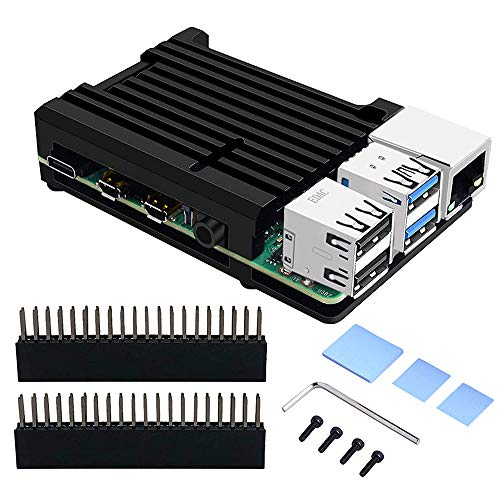 GeeekPi Raspberry Pi 4 Gehäuse, Raspberry Pi CNC Armor Hülle mit passiver Kühlung/Wärmeableitungskühlkörper für Raspberry Pi 4B(Schwarz)