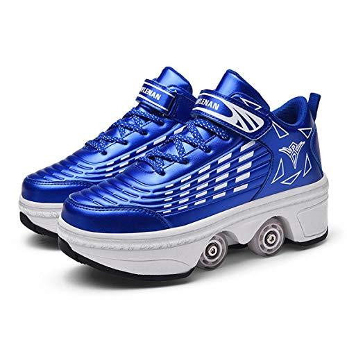 HANHJ Patines Roller Mujer/Niñas/Niños, Skateboards Zapatos con Ruedas 2 En 1 Patines Ajustable Quad Skate Roller Patines, Zapatillas para Unisex Multicolor Opcional,Dark blue-39