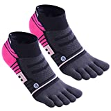 Toe Socks No Show Ankle Low Cut socks Breathable 5 Finger Compression Running Socks for Men and Women (Black 2pairs)