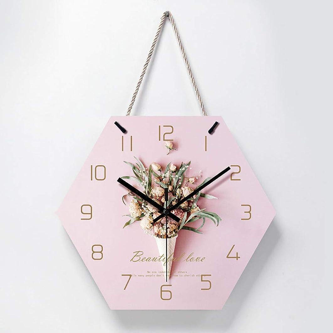 そよ風閃光夜の動物園美しい花六角アクリルクリエイティブフラワーウォールクロックガールリビングルームのウォールクロック家の装飾現代ぶら下げ時計