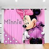 Cortina opaca con diseño de Minnie Mouse para dormitorio, sala de estar, habitación de los niños, 132 x 213 cm, 2 paneles