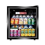 50L Mini nevera Cerveza negra, vino y bebidas Frigorífico con luz LED + Lock & Key, baja energía A + (Negro), Energía silenciosa eficiente y ideal para cocinas equipadas.