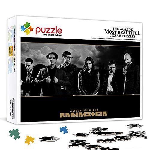 YITUOMO Puzzle für Erwachsene 1000 Stück Rammstein Berühmter Sänger Holzkinder-Lernspiel Lustiges Puzzle-Spiel mit Musikstar-Charakteren 75x50cm