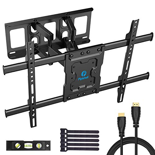 Full Motion TV Wall Mount Bracket Dual Articulating Arms Swivels Tilts Rotation for Most 37-70 Inch LED, LCD, OLED Flat&Curved TVs, Holds up to 132lbs, Max VESA 600x400mm by Pipishell (Renewed)