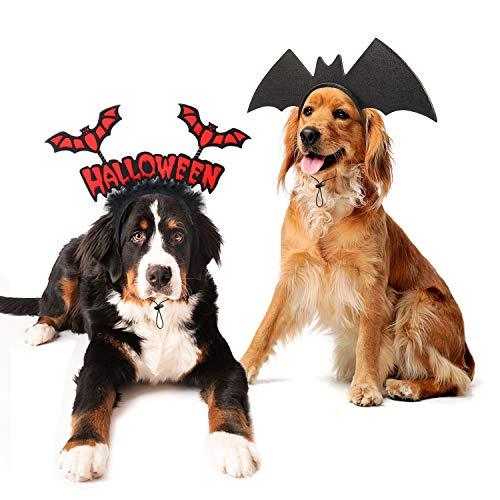 RYPET Dog Bat Costume 2PCS - Dog Bat Wings Headband Halloween Dog Costumes for Medium and Large Dogs