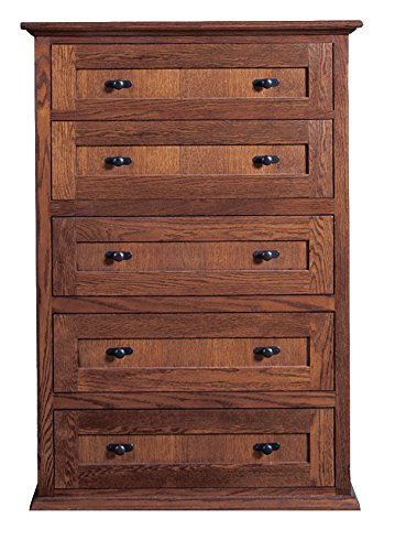 Forest Designs Mission Five Drawer Chest: 34W x 48H x 18D 34w x 48w x 18d Golden Oak