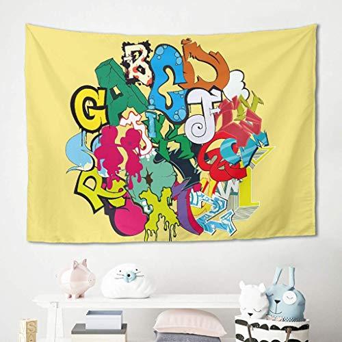 Manta para colgar en la pared, diseño de graffiti con letras de ABC, manta de pícnic, manta de playa, esterilla de yoga de fibra de poliéster para colgar en la pared, poliéster, blanco, 150 x 130 cm