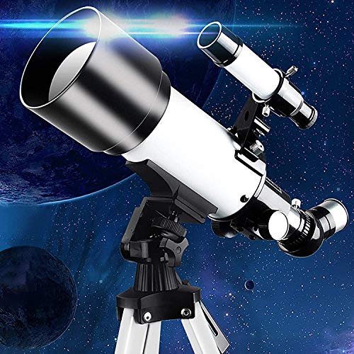 Unskrl National Geographic Astronomical Telescope with Adjustable Tripod, high-Density Telescope for Adult Beginners and Children, 70mm Refractor 400mm (f/5.7) Focal Length (Color : A)