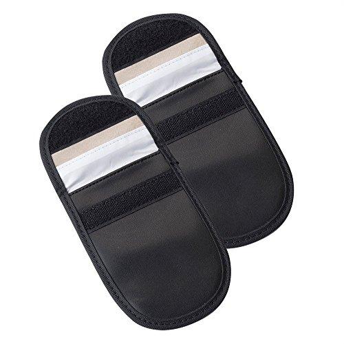 Auto Companion, sacchette per chiavi dell'auto con schermatura RFID, 2 pezzi,  protegge dai furti,  per chiavi e carte di credito, custodia in pelle artificiale, colore nero