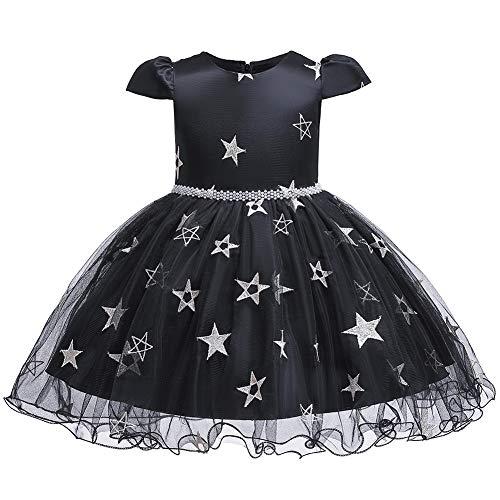 E-girl Vestido de Halloween para niña con flores C2015 Negro 110 cm