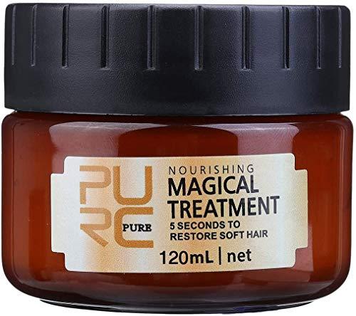 Charminer Magical Treatment Haarmaske, Haarbehandlungsmaske 5 Sekunden für repariert Schaden Haarwurzel Kopfhaut Tiefenwirksame Glättung Haarpflege um Weiches Haar Wiederherzustellen 120ml Braun