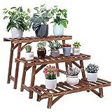 unho Wooden Plant Stand Ladder Shelf, 3 Tiered Outdoor Table for Plants Indoor Flower Pots Organizer Garden Display Rack