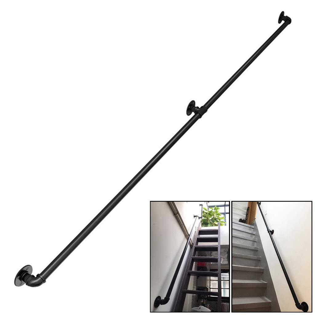 Vintage Barandilla para escaleras Interiores externos Pasamanos de Escalera Kit de Soporte Completo Barandillas de Montaje en Pared para niños discapacitados - Metal Negro Hierro Forjado: Amazon.es: Hogar