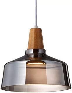 LFsem Retro Lámpara de colgantes de madera y vidrio gris Industrial Lámpara de techo vintage Loft Bar colgantes de luz para comedor Sala de estar (B)