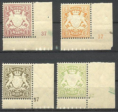 Goldhahn Bayern Nr. 71-74 mit Pl.-Nr. 37 postfrisch  Briefmarken für Sammler