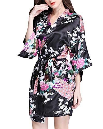 Crystallly Dames Satijn Kimono Robe Korte Slaapmode Badjas Pauw Bloemen Robe Eenvoudige Stijl Pyjama Thuis Reizen Mode Comfortabele pyjama