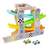 STOTOY Pista de Carreras de Madera, Pista de Carreras de rampa para Autos de Juguete de 3 Niveles con 4 Mini Autos y estacionamiento en la azotea, Juguetes para niños pequeños para Regalos
