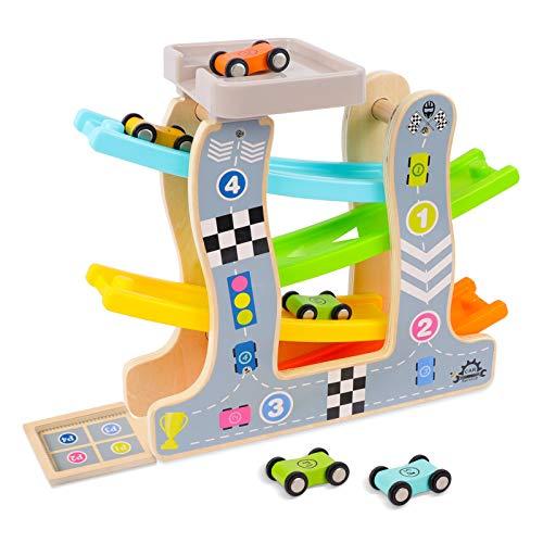 STOTOY Holzspielzeug kugelbahn Holz mit 4 kleinen Autos und 2 Garagen Geschenke Weihnachtsgeschenke für Jungen und Mädchen im Alter von 2-6