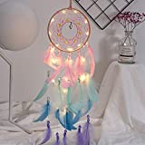 XIAOHONG Dream Catcher Handmade Indian Style Dream Catcher with Led String Lights, Wall Hanging Kids Room Decor Wall Art Ornament Decor Craft Gift Car Pendant (Colorful)