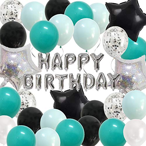Teal Silver Birthday Decorations - Happy Birthday Party Balloons Black Turquiose for Boys Girls Adults B-Day Decor Supplies (Teal Silver)